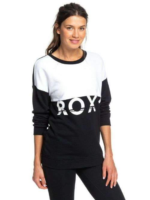ROXY WOMENS CREW TOP.NEW RENDEZ VOUS SWEAT SHIRT JUMPER BLACK WHITE TOP 9W 47KV